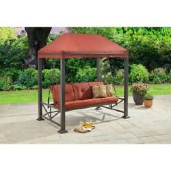 Red 3 Person Patio Swing Gazebo Outdoor Home Leisure Furniture Garden Poolside