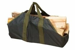 Jumbo Log Carrier Wood Holder Bag Canvas Big Tote Fireplace Outdoor Heavy Duty