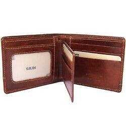 SOLDO - Men's Italian Leather Passcase Wallet with Removable ID Holder Brown
