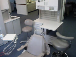 Three open bay dental Chairs dr asst stoolstrack lights cabinets wdel units