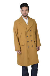 Gucci Men's Mustard Wool Cashmere Double Breasted Coat US XL IT 54