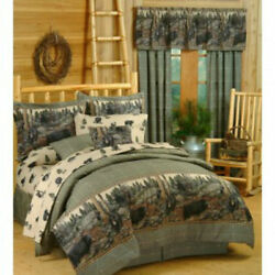Comforter Set-King Home Bedding Rustic Cabin Western Bears Cotton Accent Design