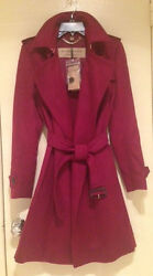 $2895 BURBERRY LONDON TEMPSFORD CHERRY RED CASHMERE WRAP Trench Coat SZ 6 NWT