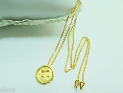 Fine Real 999 24k Yellow Gold Necklace O Chain &   Button Pendant  5-6g 17