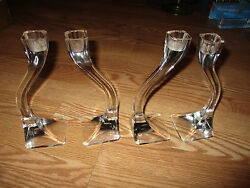Curved Modern Glass Candlestick Holders 8quot; tall set of FOUR 4 $44.00