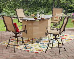 Outdoor 4 Seat Patio Counter Height Swivel Seating Dining Bar Set Furniture Tan