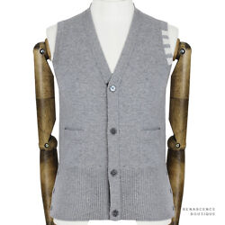 Thom Browne Pale Grey White Banding Pure Cashmere Knitwear Cardigan Tank 1 IT46