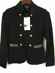 NWT St. John Blazer Black Exclusive $1000 Size 2 Gold Buttons Chain Caviar