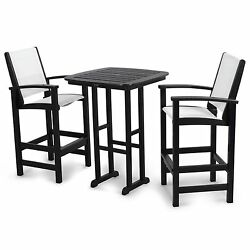 Bar Height Dining Set Outdoor Patio Bistro Furniture Pub Table Mesh Chairs 3PC