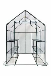 Ogrow Deluxe Walk In 6 Tier 12 Shelf Portable Greenhouse Clear Poly Cover Steel