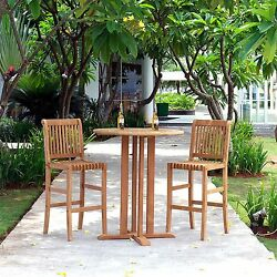 Outdoor Bistro Sets Patio Chairs Table Teak Wood Furniture Bar Height 3 piece