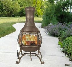 Outdoor Wood Burning Fireplaces Cast Iron Chiminea Fire Pit Chimney with Tools