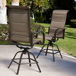 Bronze Sling Padded 2 Piece Patio Swivel Stool Set Outdoor Home Furniture Pool