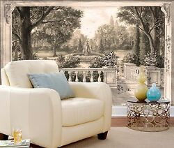 3D Private Garden View 1960 Wallpaper Decal Dercor Home Kids Nursery Mural Home