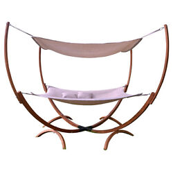 Light Brown Canopy Patio Hammock Stand Set Home Leisure Furniture Outdoors Deck