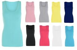 Ladies Summer Fitted Ribbed Stretchy Plus Size Vest Top T-Shirt Size 12-24