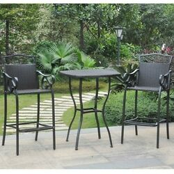 Black 3-pc Outdoor Bistro Set Wicker Bar Height High Table Garden Chairs Patio