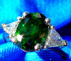 Deco Diamond solitaire Chrome Tourmaline Emerald Green Cocktail Engagement Ring