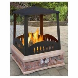 Outdoor Fire Pit Propane Patio Deck Furniture Heater Square Backyard Fireplace