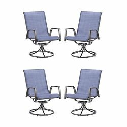 Dark Blue 4 Piece Sling Swivel Patio Chairs Set Outdoor Home Seating Furniture
