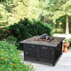 Outdoor Gas Fire Pit LP Propane Deck Patio Heater Tile Fireplace With Cover New