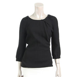AUTHENTIC LOUIS VUITTON WOOL TOPS BLACK 34 GRADE S USED - AT