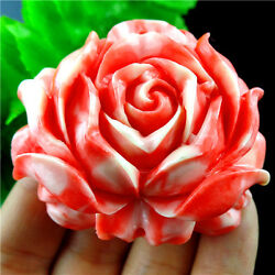 Flower Carved Red cinnabar    Pendant Bead 48*54*6mm A73P5215