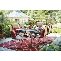 Patio Dining Set 7 Piece Padded Sling Outdoor Furniture Table Chairs