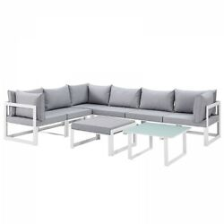 Modway EEI-1735-WHI-GRY-SET Fortuna 8 Piece Outdoor Patio Sectional Sofa Set In