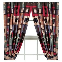 Pair The Woods Bear Wolf Cabin Lodge Curtains Rod Pocket Panel Drapes 84