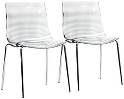 WHOI-4744-Set of 2 Marisse Clear Plastic Modern Dining Chairs