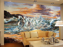 3D White horses 235 Wall Paper Print Wall Decal Deco Indoor Wall Murals