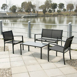 Patio Bistro Set Metal Furniture 4 Piece Outdoor Garden Bench Table And Chairs