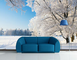 3D White Snow Tree forest Wall Paper Wall Print Decal Wall AJ WALLPAPER CA