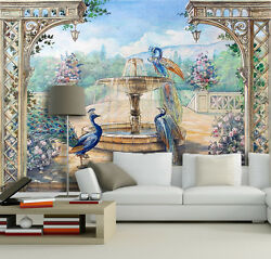 3D Peacock fountain 3254 Wall Paper Print Wall Decal Deco Indoor Wall Murals