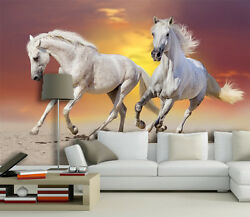 3D White horses 434 Wall Paper Print Wall Decal Deco Indoor Wall Murals