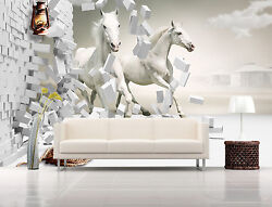 3D White horses 9900 Wall Paper Print Wall Decal Deco Indoor Wall Murals