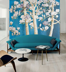 3D White flowers tree 265 Wall Paper Print Wall Decal Deco Indoor Wall Murals