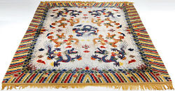 ANTIQUE SILK AND METAL THREAD NINE DRAGON CHINESE PALACE CARPET RUG 喜寿