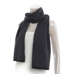 AUTHENTIC LOUIS VUITTON MEN'S WOOL SCARF M70028 GREY X BLACK GRADE S USED -AT