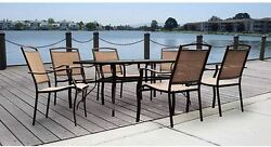 Outdoor Dining Set 7 PC Patio Furniture Glass Table Sling Chairs Cushions Deck