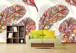 3D Colorful feathers 9809 Wall Paper Print Wall Decal Deco Indoor Wall Murals