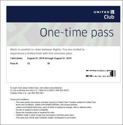 2 Passes for United Club One Time Pass EXP 10202020 NOT CHASE E-pass available
