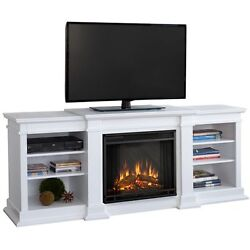 White TV Entertainment Center w Electric Fireplace Heater Shelf Console Stand