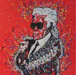 hand made pop street art famous face karl lagarlfeld