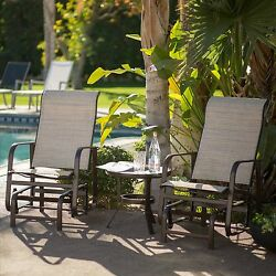 3 Piece Sling Seating Glider Chair Bistro Patio Set Home Outdoors Furniture Pool