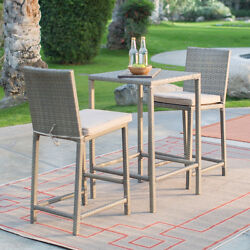 Natural 3 Piece Balcony Bistro Patio Dining Set Home Outdoors Living Furniture