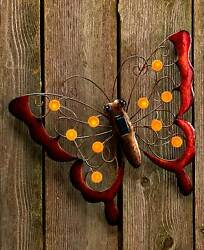 BUTTERFLY Solar Power Lighted Garden Wall Hanging Shed Garage Tree Outdoor Decor