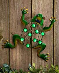 FROG Solar Power Lighted Garden Wall Hanging Shed Garage Tree Outdoor Decor