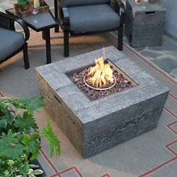 Outdoor Fire Pit Square Natural Gas Fire Table Glacier Stone With Cover